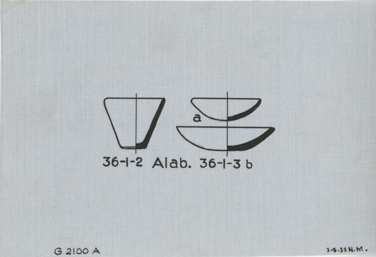 Drawings: G 2100, Shaft A: model dishes, alabaster