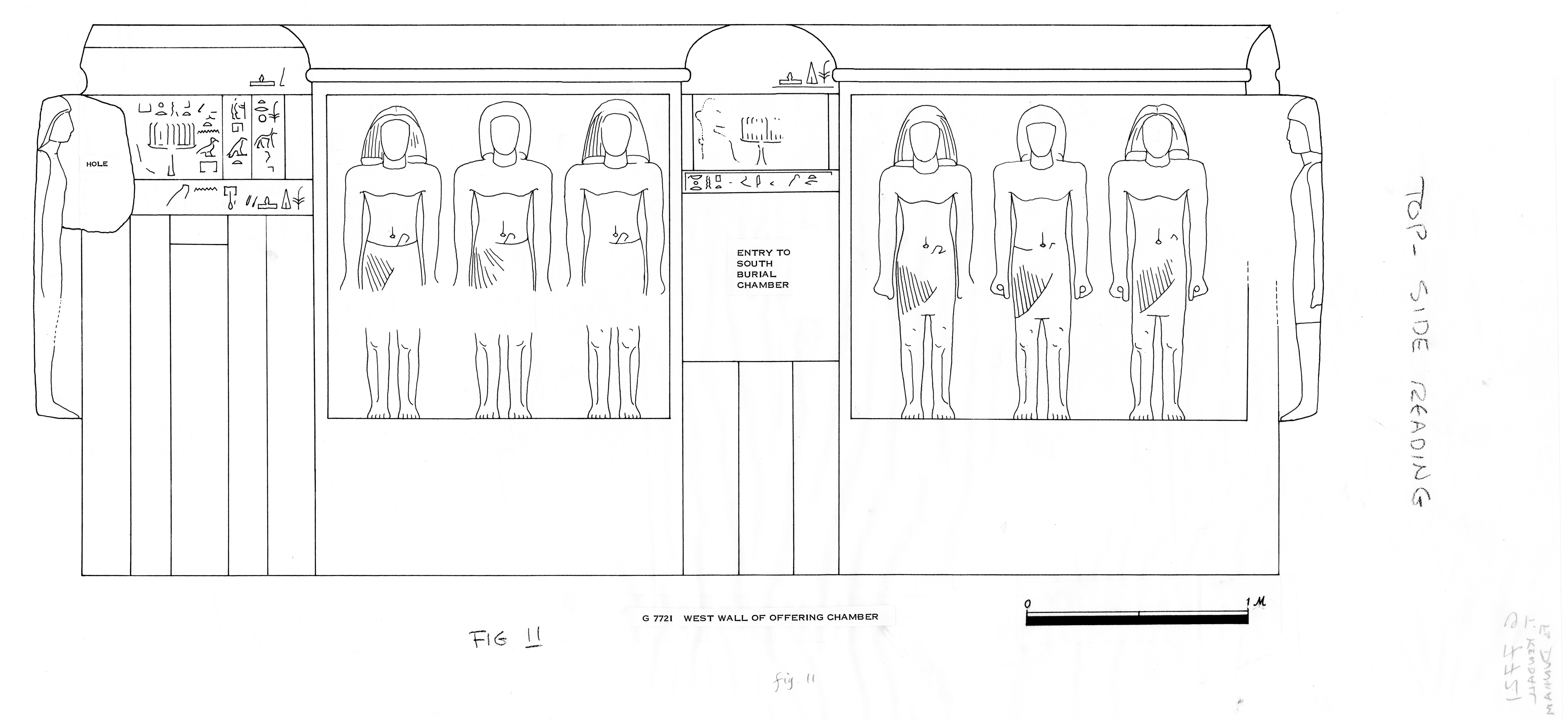 Drawings: G 7721, Elevation of offering chamber, W wall
