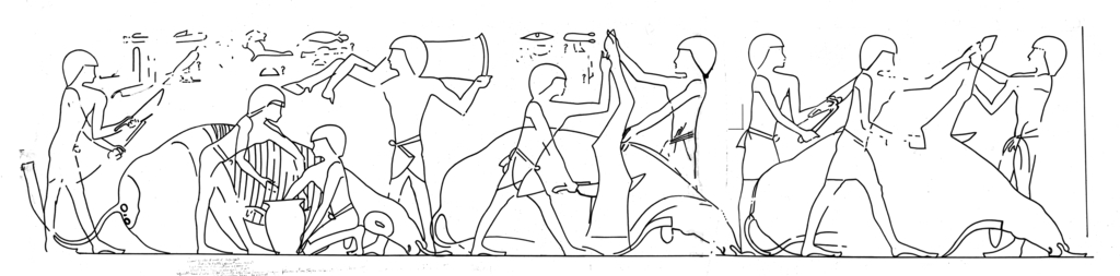 Drawings: G 1151: relief, cattle butchering scene
