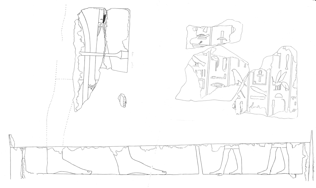 Drawings: G 5110 (= Lepsius 44): relief fragments from N wall and inscription from N jambs