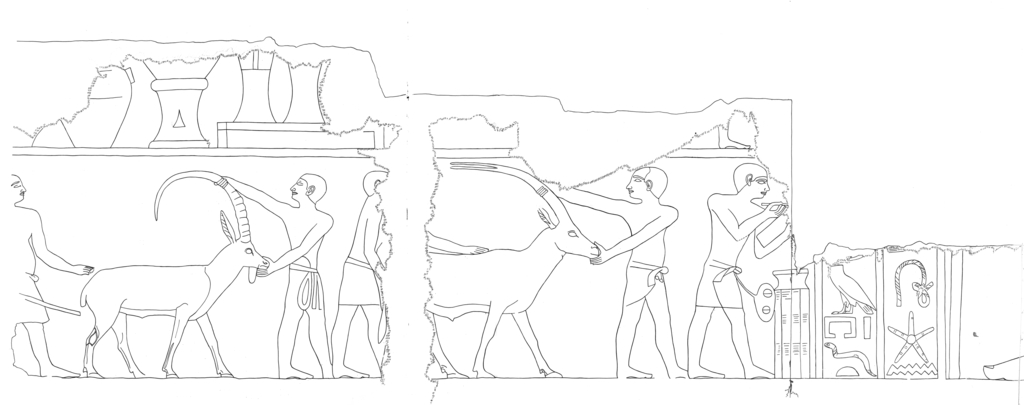 Drawings: G 5110: relief from chapel, E wall, N of door, N part