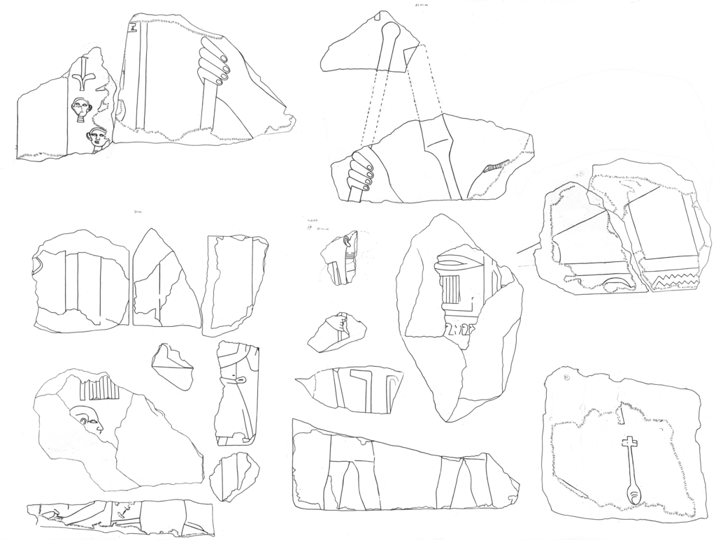 Drawings: G 5110 (= Lepsius 44): relief fragments from N jambs, etc., boat building