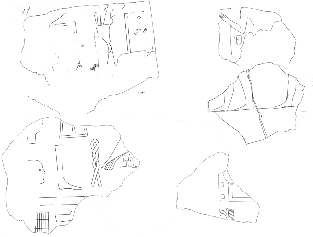 Drawings: G 7410-7420: relief fragments