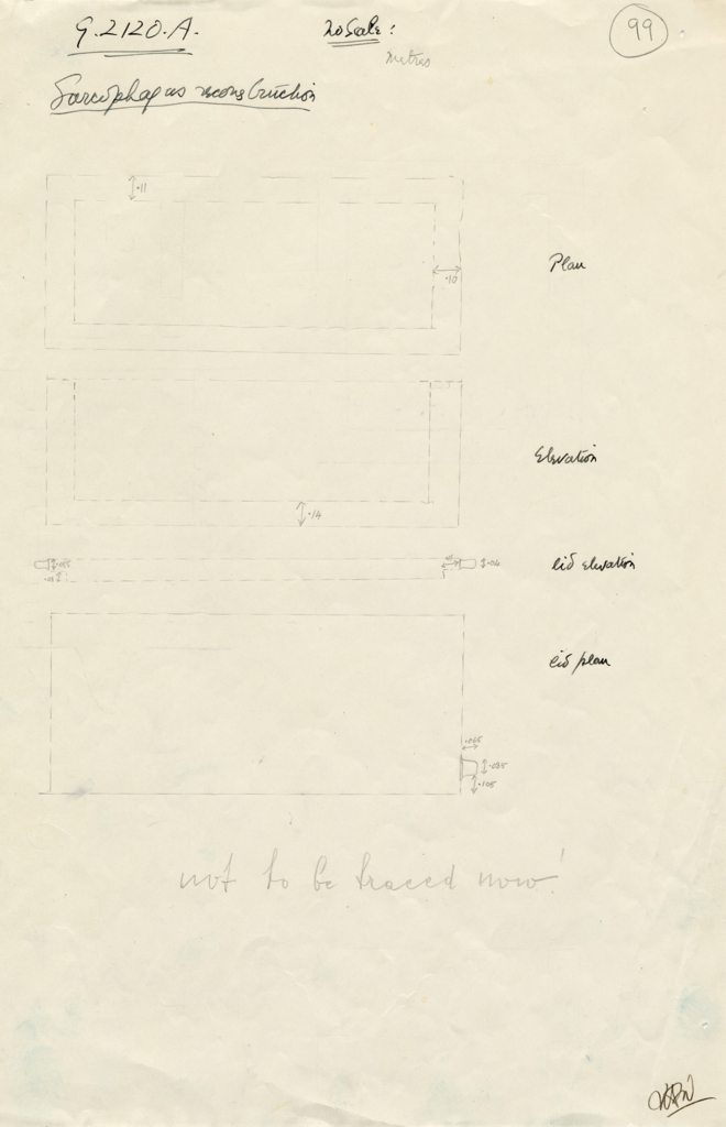 Maps and plans: G 2120, Shaft A: sarcophagus and lid (reconstruction)