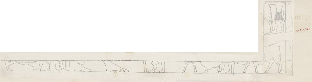 Drawings: G 5110: relief fragments from chapel, W wall, livestock procession