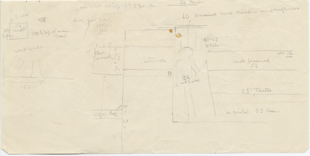 Drawings: G 5110: relief from W wall, notes and sketches of