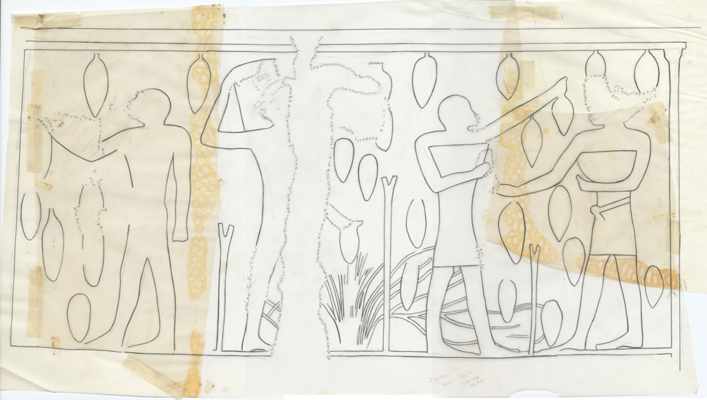Drawings: G 6020: relief from Room B, W wall, over door