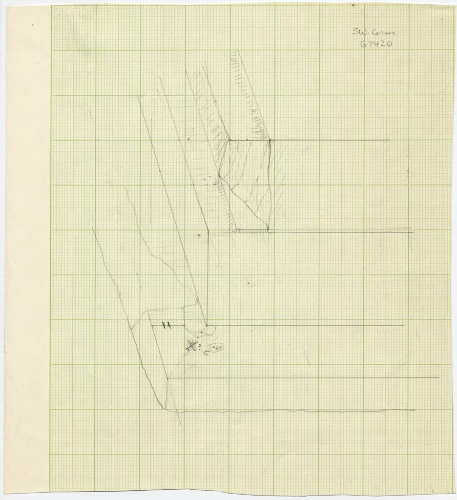 Drawings: G 7410-7420: G 7420, Sketch of SW corner