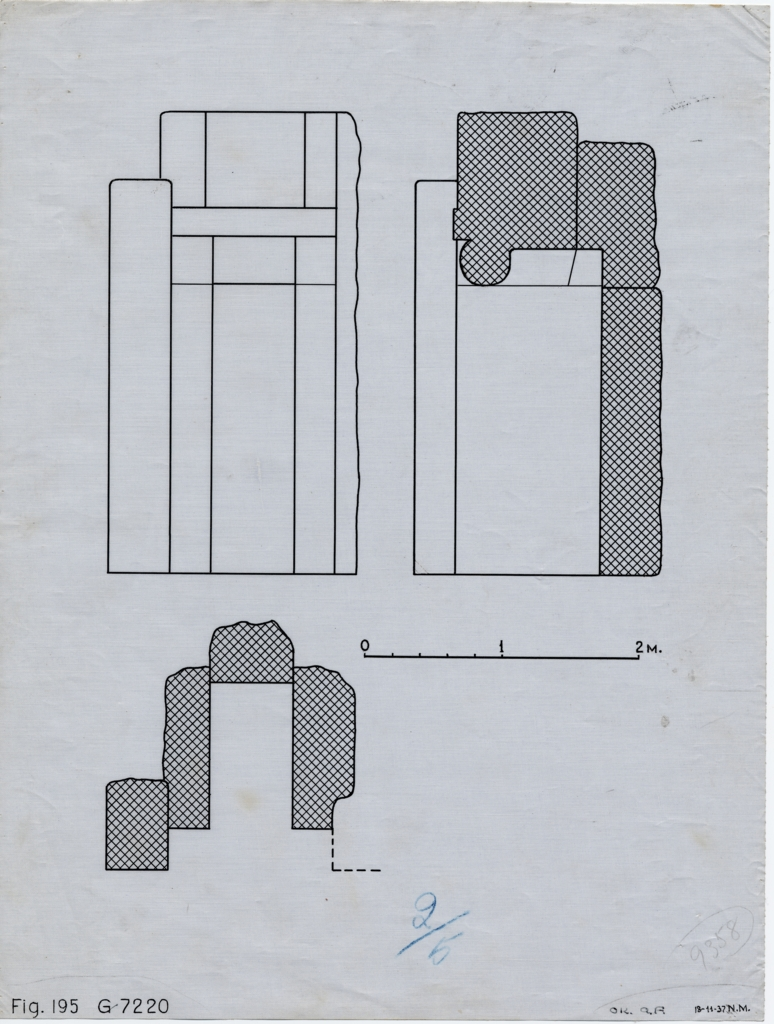 Drawings: G 7220, Elevation of facade and Sections of false door