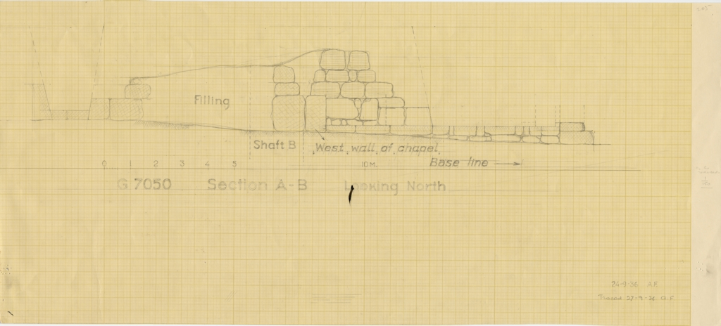 Maps and plans: G 7050: Section of chapel, with location of Shaft B