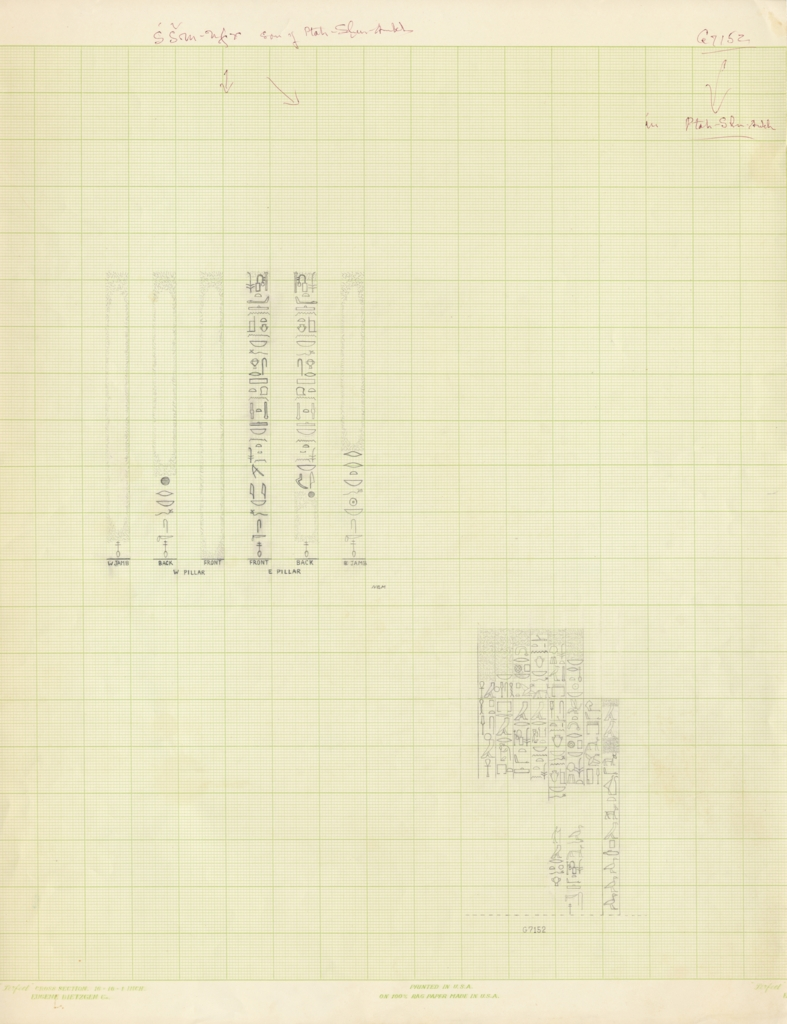 Drawings: Relief from G 5080, W and E pillars, and G 7152, chapel, W wall