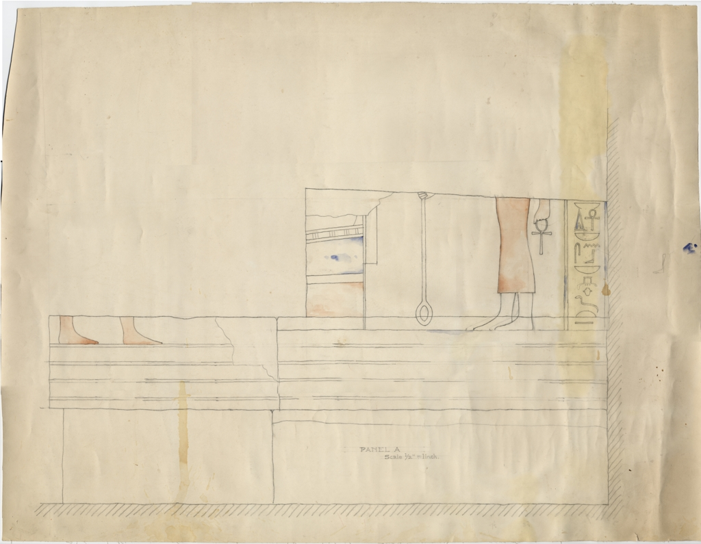 Drawings: Isis Temple: relief from Room G, outer room, W wall