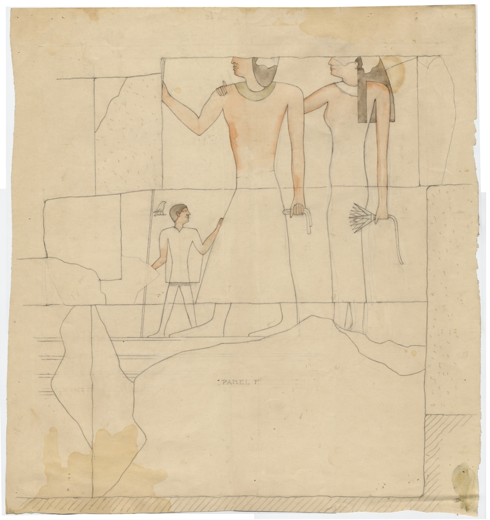 Drawings: Isis Temple: relief from Room G, outer room, N wall, E end
