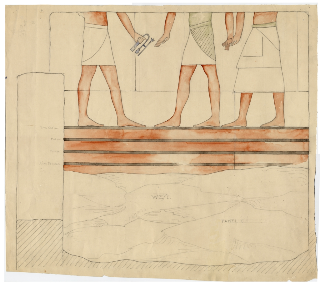 Drawings: Isis Temple: relief from Room G, cell, W wall