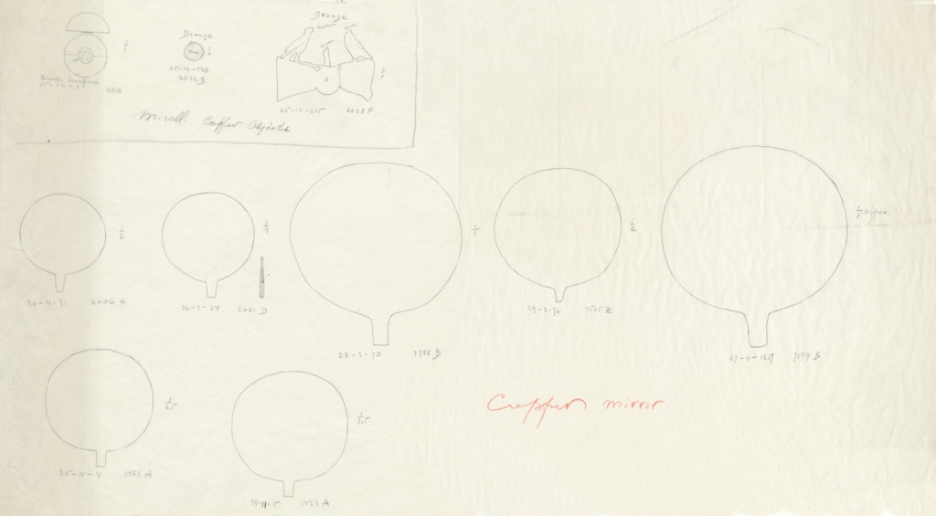 Drawings: Objects, bronze and copper, from G 2001, G 2006, G 4816, G 5563, G 6028, G 6032, G 7159, G 7565, G 7788