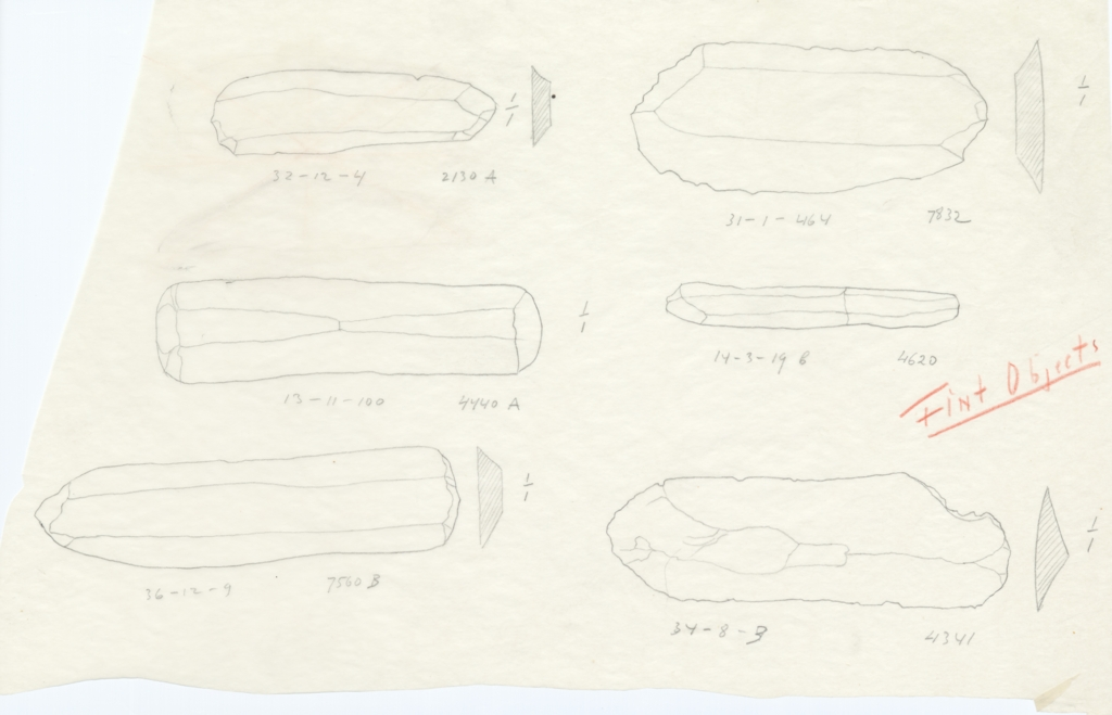Drawings: Objects, flint, from G 2130, G 4341, G 4440, G 4620, G 7560, G 7832