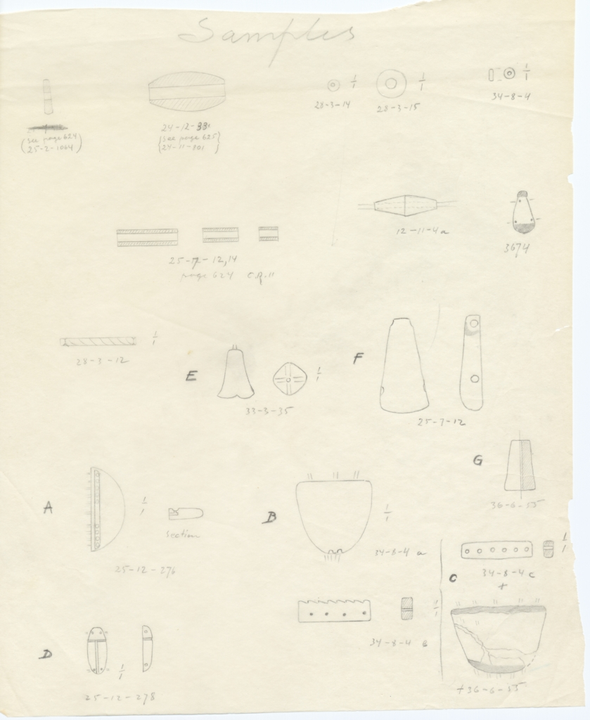 Drawings: Beads from G 2320, G 2422, G 2423, G 4341, G 6012, G I-a, G 7521, G 7690, G 7691, G 7803