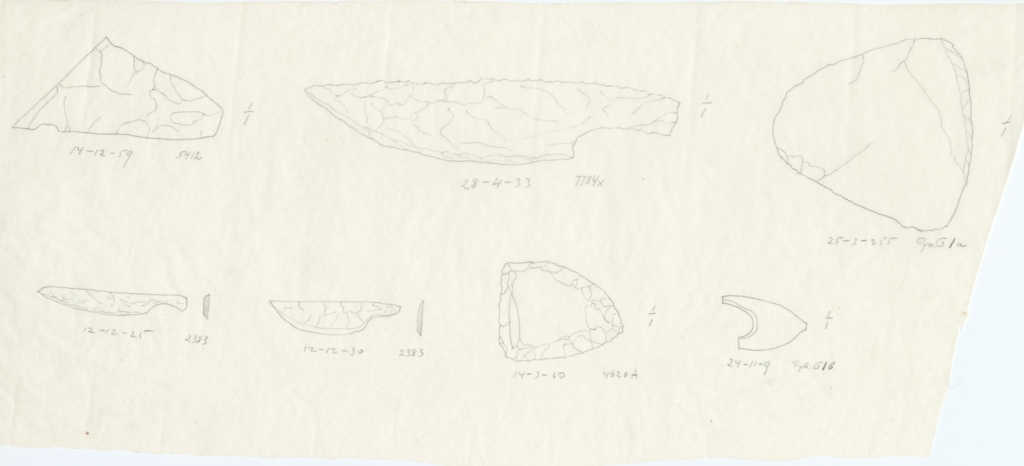 Drawings: Objects, flint, from G 2383, G 4620, G 5412, G 7784, Avenue G 0, G I-a, G I-b