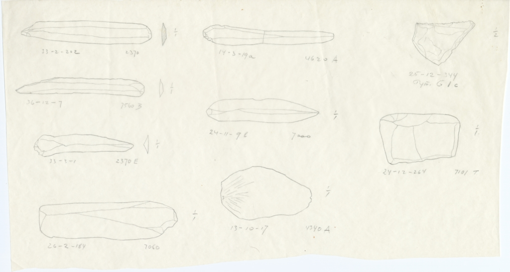 Drawings: Objects, flint, from G 2370, G 4340, G 4620, G I-b, G I-c, Avenue G 3, Street G 7000, G 7060, G 7101, G 7560