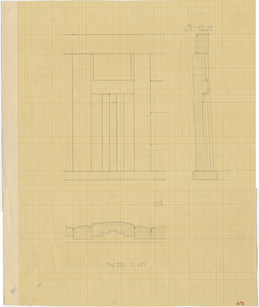 Drawings: G 1171, Elevation of facade and section of false door