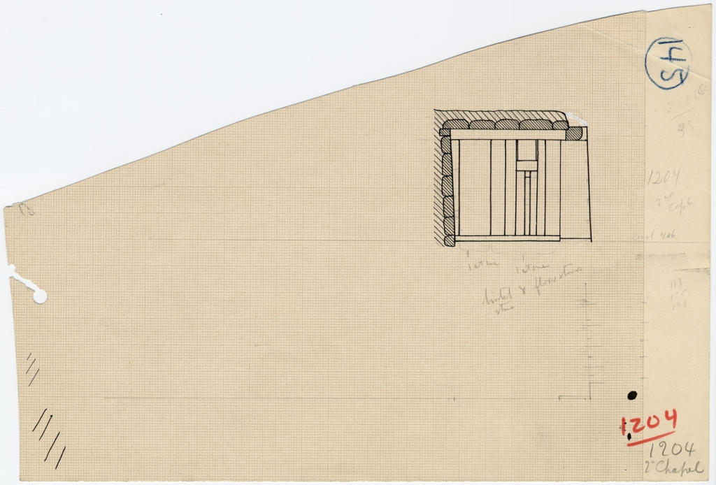 Drawings: G 1204, Elevation of second chapel, false door, with notes