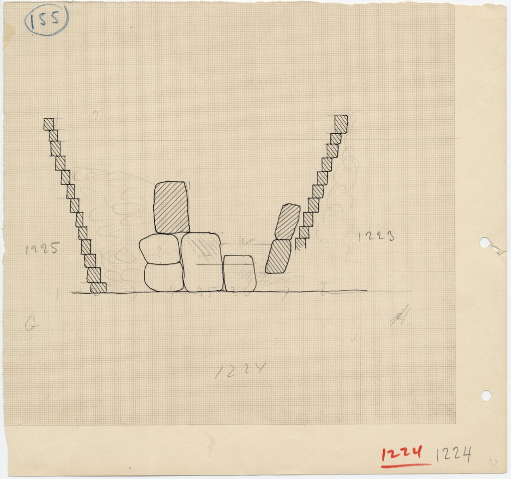 Drawings: Section of stones between G 1223 and G 1225