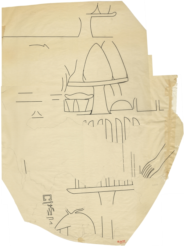 Drawings: G 2088: relief fragment from E wall, S of door