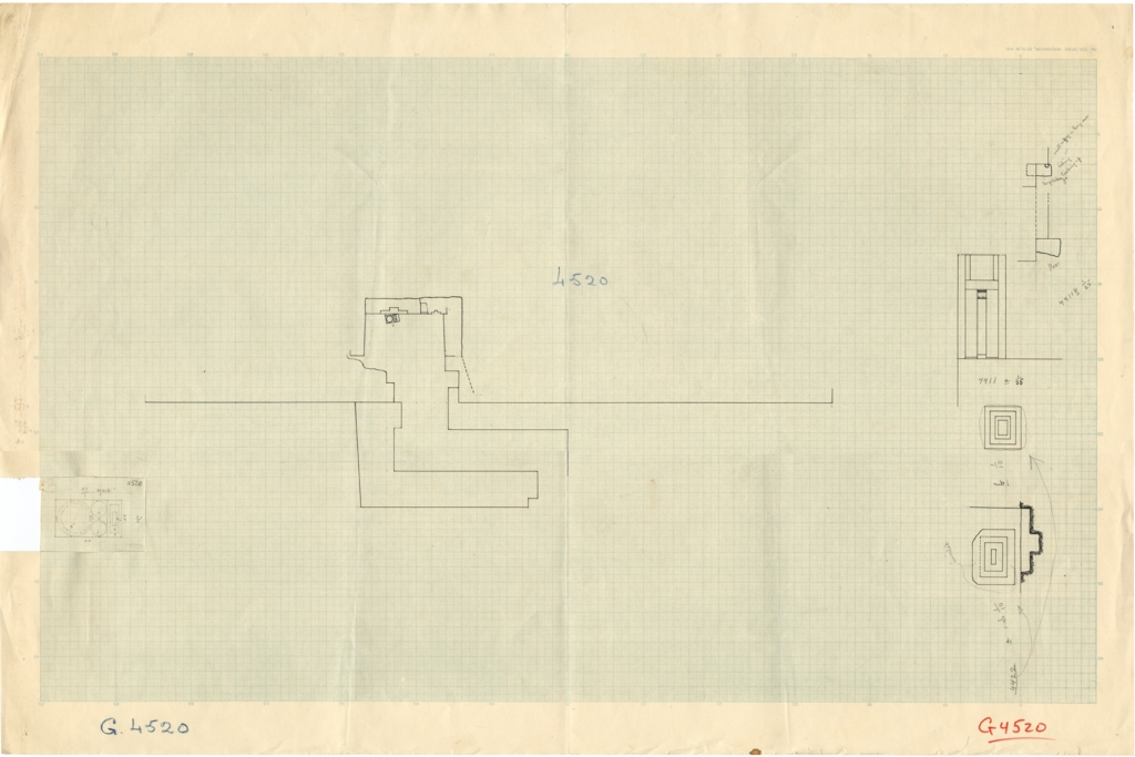 Maps and plans: Plans and sections of G 4520; false door from G 4411; offering basin from G 4422; offering basin from G 4520