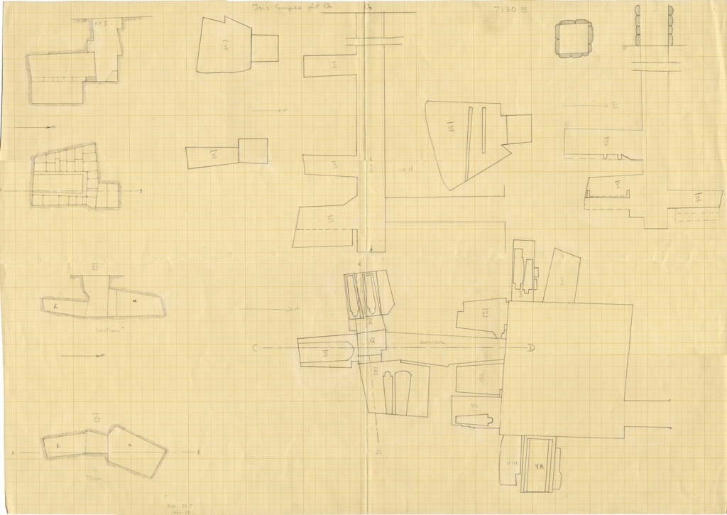 Maps and plans: G 7130, Shaft B, and Isis Temple, Shaft G