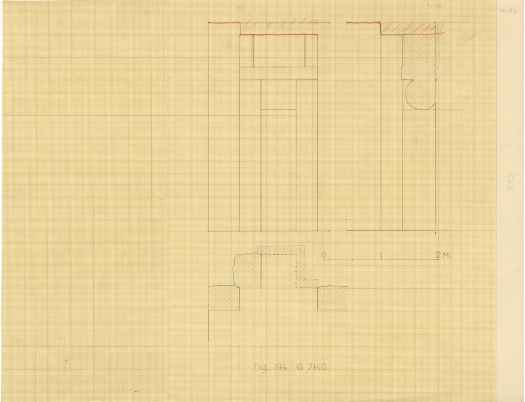 Drawings: G 7140, Elevation, plan, and section of false door
