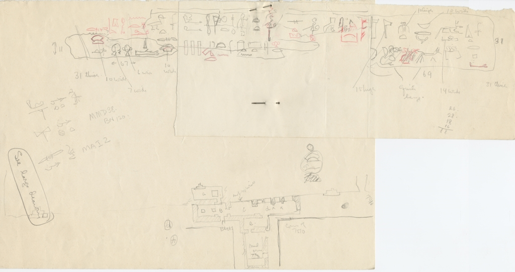 Drawings: G 7420: Sketches of architrave fragments and sketch plans of G 7410 and G 7510