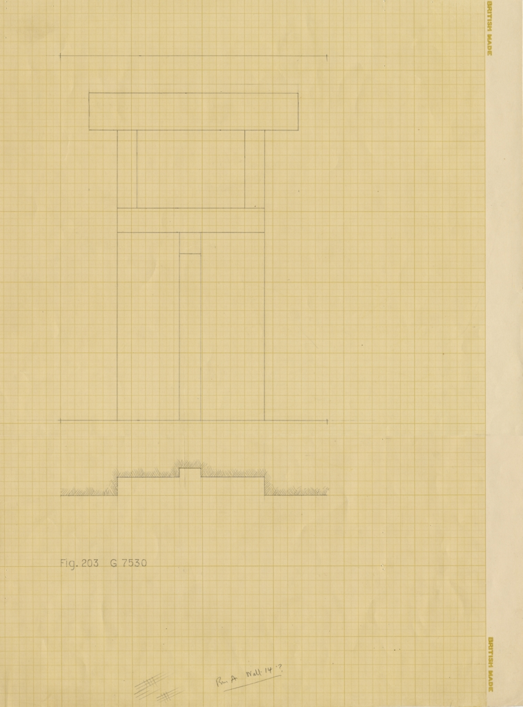 Drawings: G 7530, Elevation and plan of Room A, false door