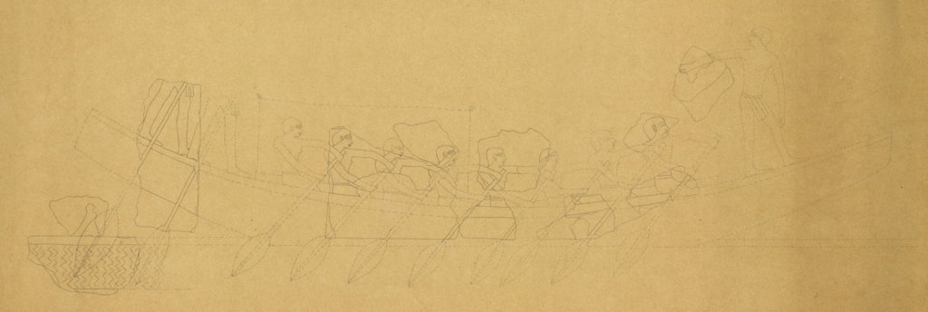 Drawings: Street G 7000, E of G I-b: relief of boating scene