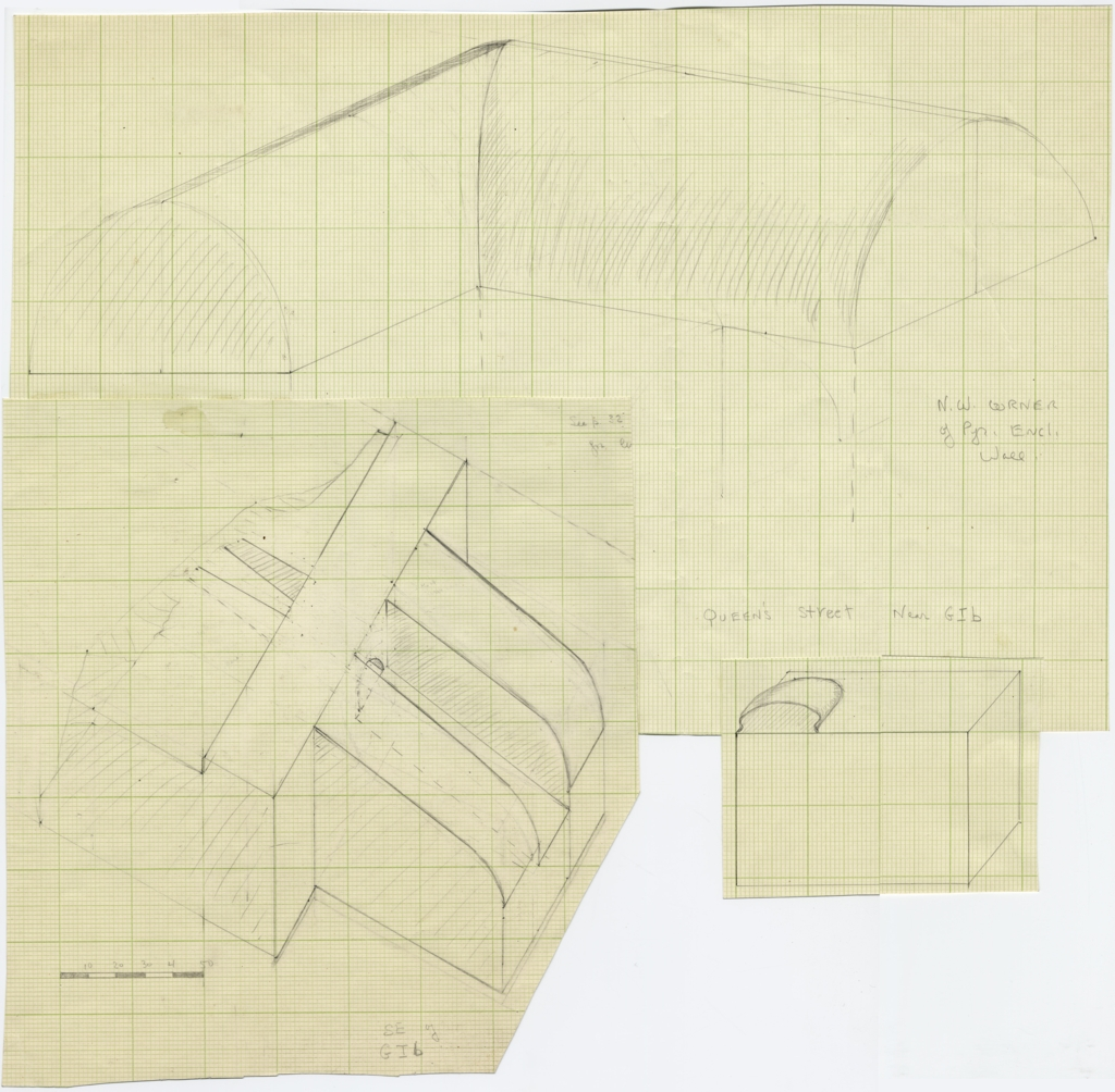 Maps and plans: Dimensional drawings of pyramid Enclosure Wall, NW corner; object from SE of G I-b; object from Queen's Street, near G I-b