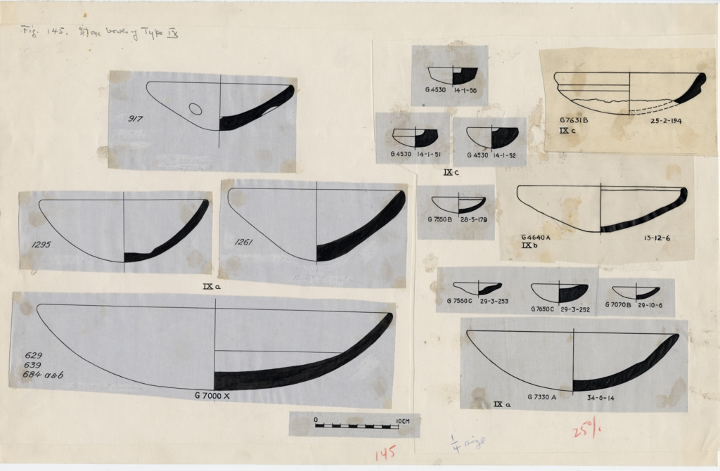 Drawings: Bowls, stone, from G 4530, G 4640, G 7000 X, G 7070, G 7330-7340, G 7550, G 7631, G 7650