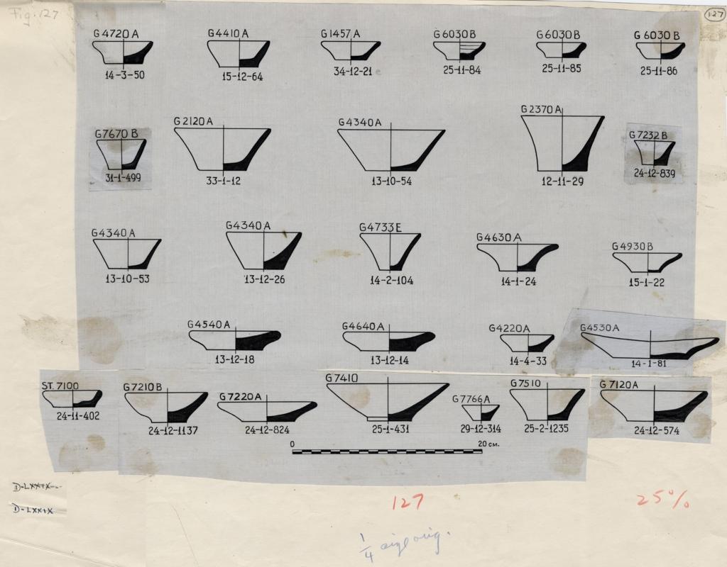Drawings: Pottery from G 1457, G 2120,G 2370, G 4220, G 4340, G 4410, G 4530, G 4540, G 4630, G 4640, G 4720, G 4733, G 4930, G 6030, Street G 7000, G 7110-7120, G 7210-7220, G 7232, G 7410-7420, G 7510, G 7670, G 7766