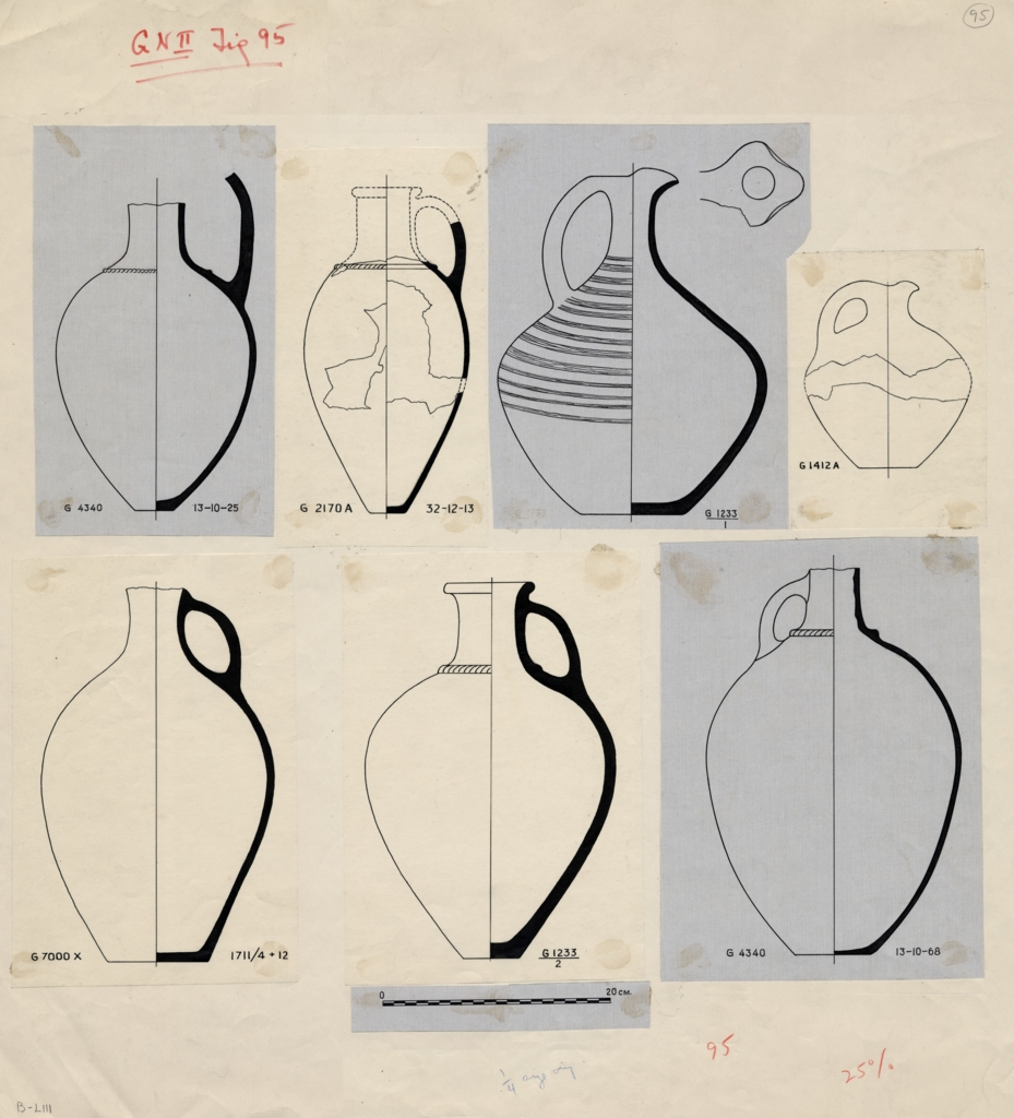 Drawings: Pottery, pitchers with handle from G 1233, G 2170, G 4340, G 7000 X