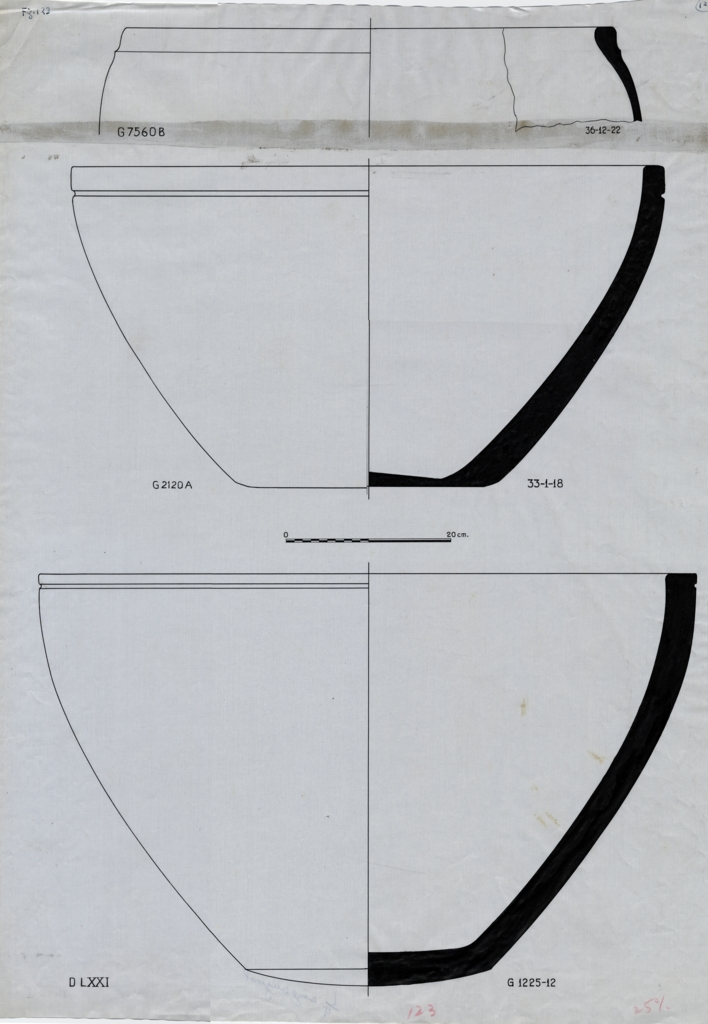 Drawings: Pottery, basins from G 1225, G 2120, G 7560
