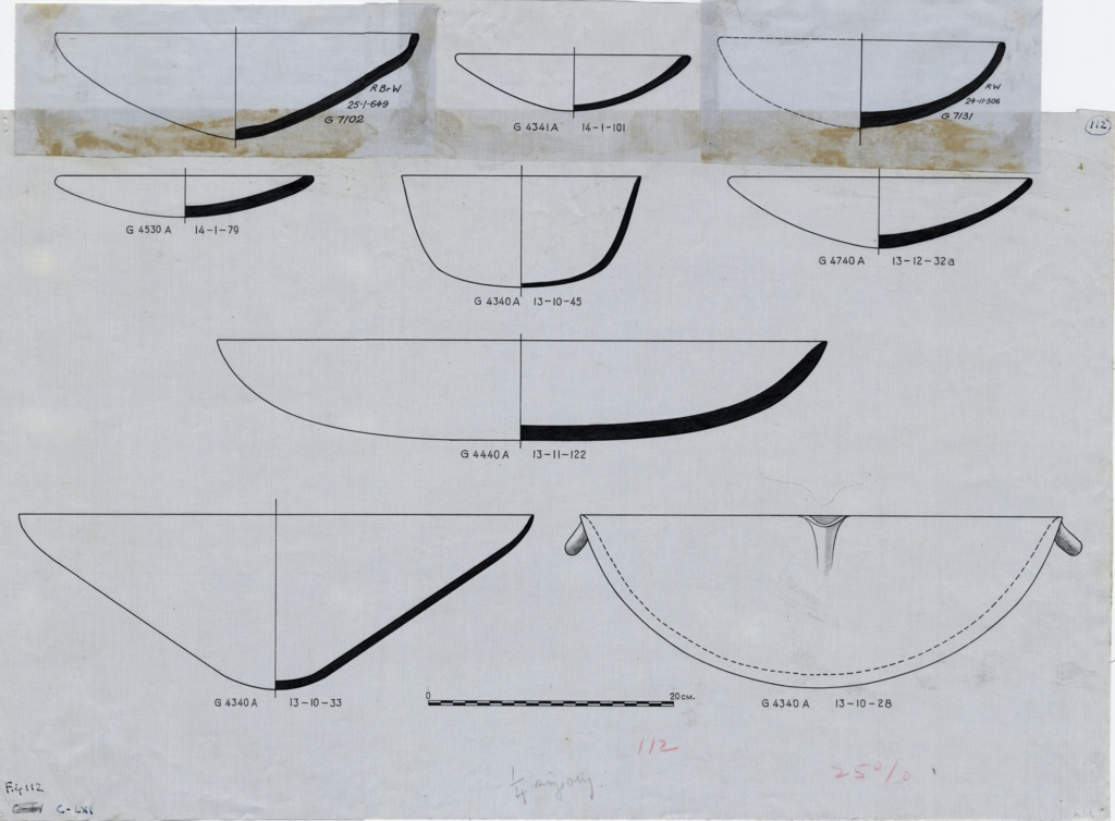 Drawings: Pottery, bowls from G 4340, G 4341, G 4440 , G 4530, G 4740, G 7102, G 7131