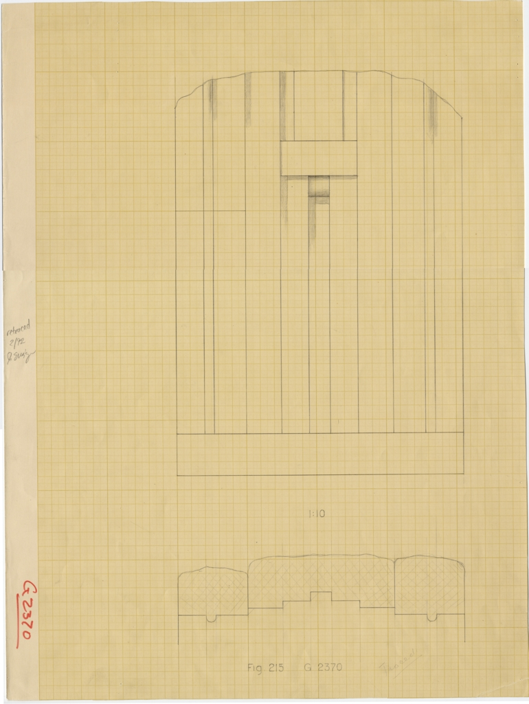 Drawings: G 2370: Elevation and plan of W wall, false door