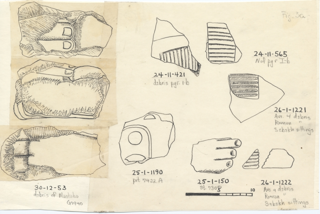 Drawings: Statue fragments from G I-b, G 4, Avenue G 4, Street G 7300, G 7432, G 7940