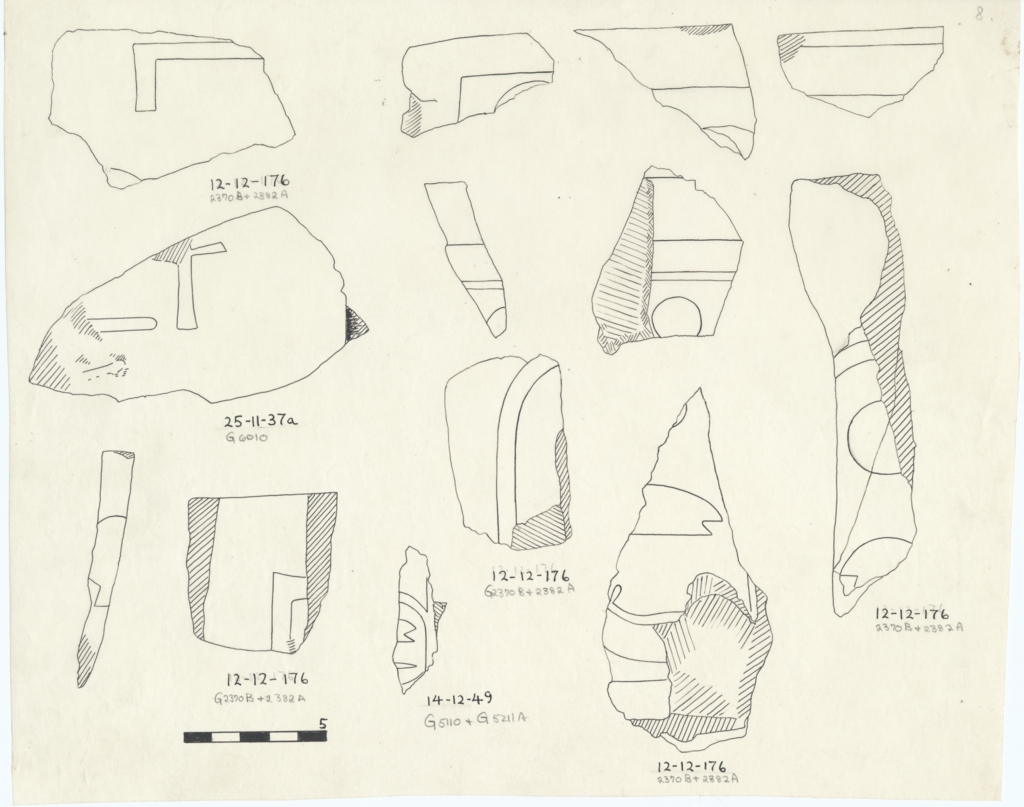 Drawings: Royal statuette fragments, inscribed, from G 2370, G 2382, G 5110, G 5211, G 6010