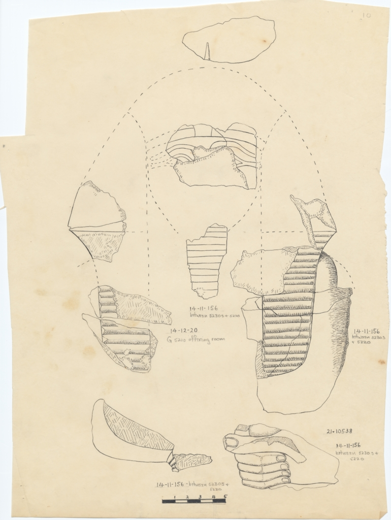 Drawings: Royal statuette fragments from G 5210, G 5220, G 5230