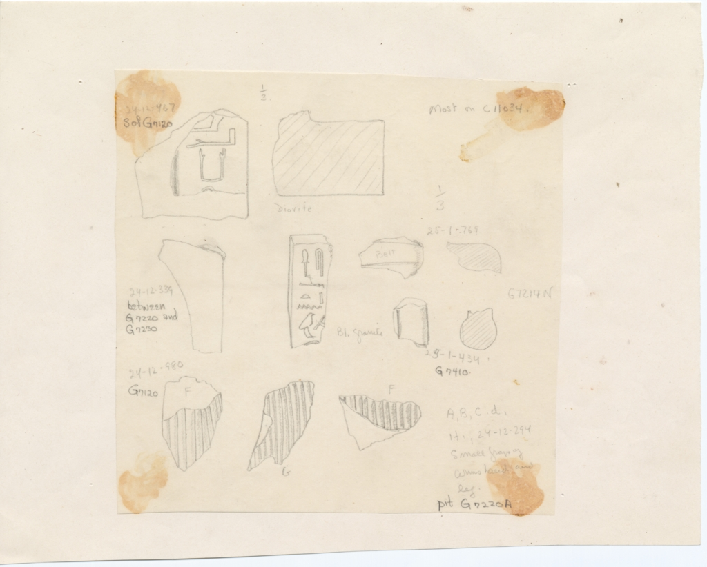 Drawings: Statue fragments from G 7110-7120, G 7210-7220, G 7214, G 7230-7240, G 7410-7420