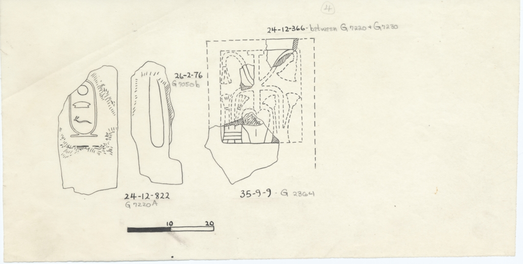 Drawings: Statue fragments from Avenue G 2, G 2364, G 7050, G 7210-7220, G 7230-7240