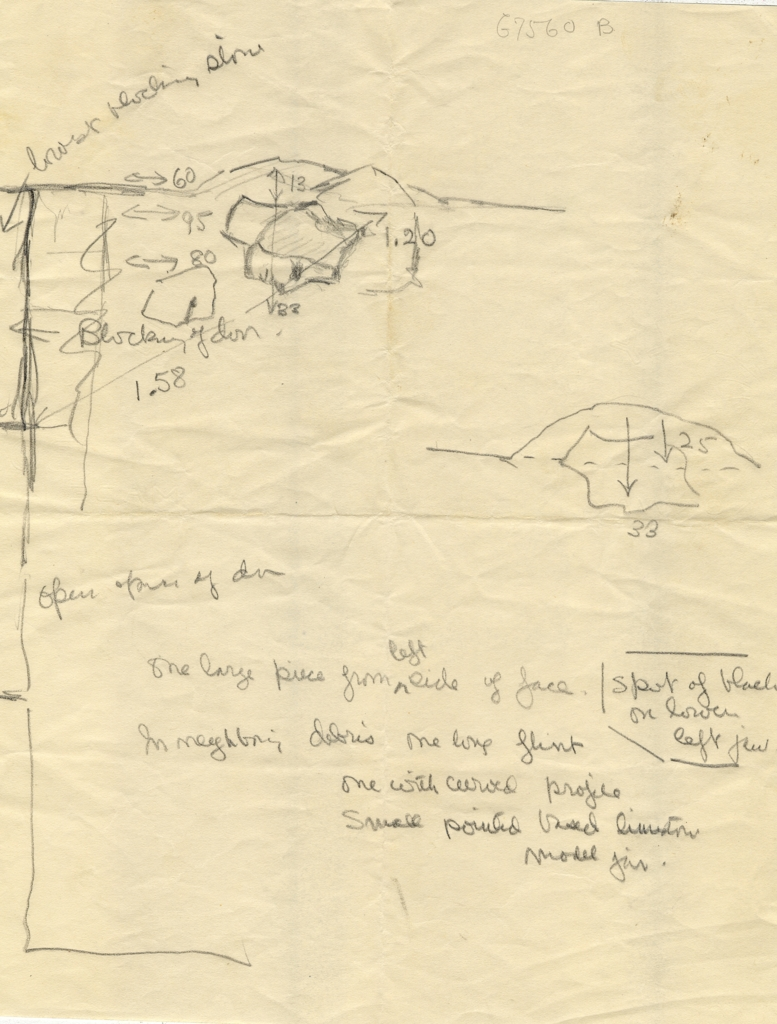 Maps and plans: G 7560, Shaft B: notes and sketches