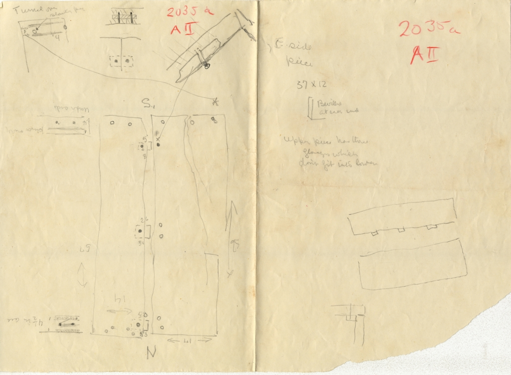 Maps and plans: G 2035a, Shaft A II, Sketches with notes