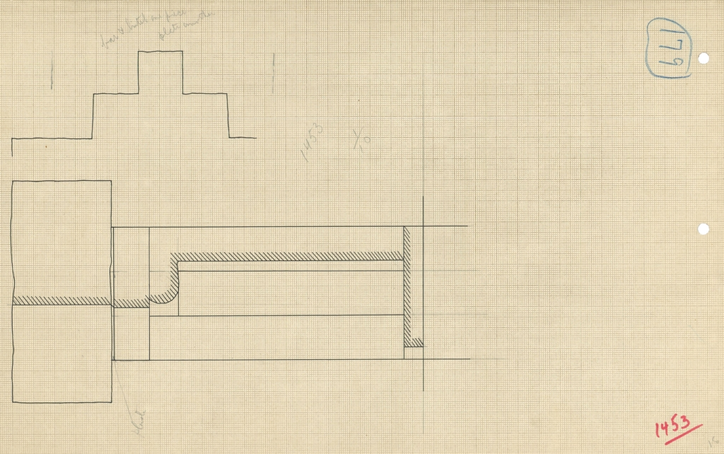 Maps and plans: G 1452+1453: G 1453, Plan and section of false door