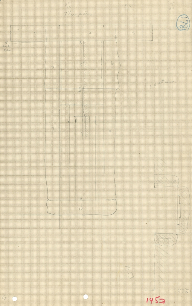 Maps and plans: G 1453, Elevation and plan of false door