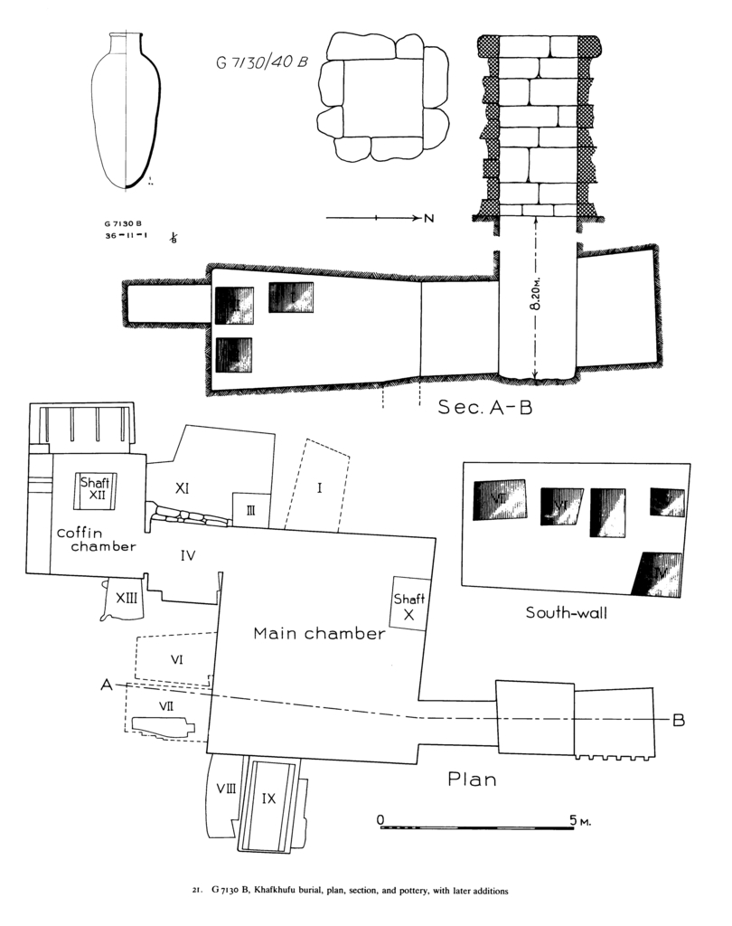 Maps and plans: G 7130, Shaft B, and pottery, jar